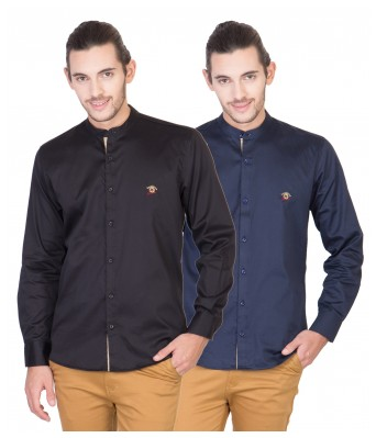 Real Cotton Mens Full Sleeves Shirt-Pack of 2