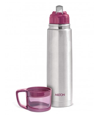 Milton Thermosteel Glassy Drinking Cup Lid  1 Litre  Pink