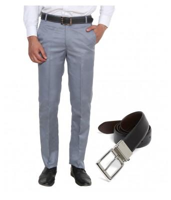 Ansh Fashion Wear Men S  Formal Trouser With Free Reverse Belt