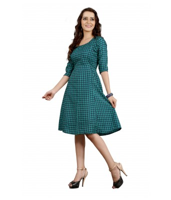 Romantic Cotton Green Printed Kurti