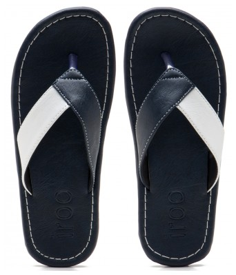 Iroo Blue Solid Patent Leather Slippers
