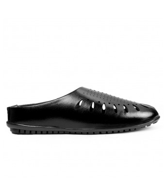 Bxxy Men's Black Faux leather Casual Fashionable Stylish sadals