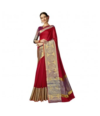 Shakunt Red Cotton Silk Festival Wear Woven Saree