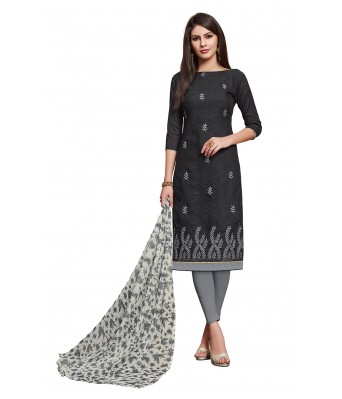 Black Party Cotton Jacquard Unstitched Dress Material With Dupatta