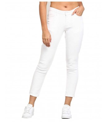 Ansh Fashion Wear Womens Regular Fit Denim Strechable Round Pocket Clean Look White Color Jeans