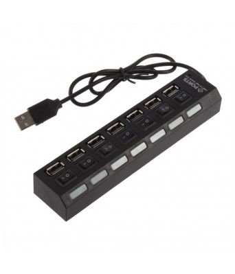 Alpine Marketing Exclusive 7 Port Ultra High Speed USB Hub 480 Mbps for Laptop Desktop 2.0 Hub with Individual On/Off Power Switches and LEDs
