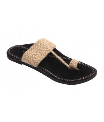AMAZING TRADERS Jute Leather Slipper for Men/Boy (Gold Color)