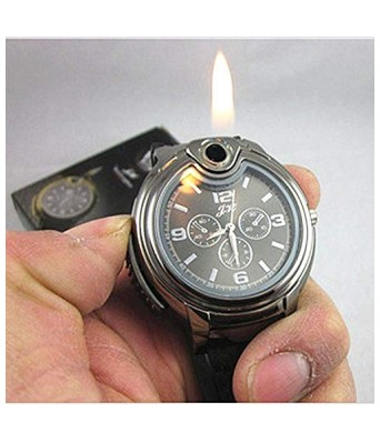 Sasta Bazar Online exclusive Brown Strap Golden Dial Wrist Watch with Refillable Butane Cigarette Lighter
