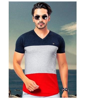 Ansh Fashion Wear Stylish V Neck Striped Multicolor T-Shirt for Mens & Boys