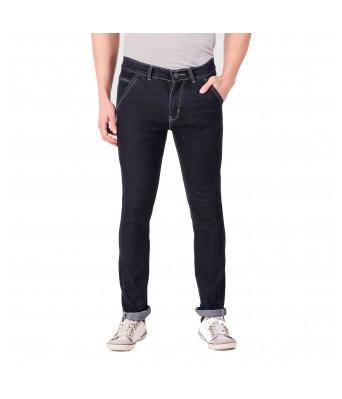 Ansh Fashion Wear Mens Regular Fit Denim Strechable Round Pocket Black Jeans