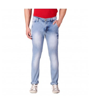 Ansh Fashion Wear Mens Regular Fit Denim Strechable Cross Pocket Cloud Wash Mild Distress Light Faded Light Blue Jeans