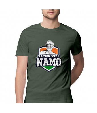 Hyper Take Mens NATION WITH NAMO Round Neck Olive Green Color