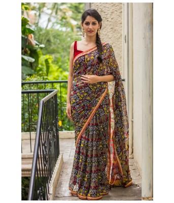 By Design Digital Printed Multi Color Zarana Silk Saree