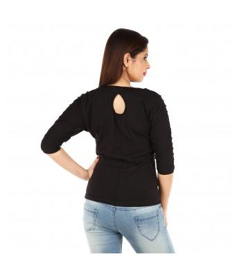 Romile Womens Stylish Designer Top for Womens & Girls Black Color
