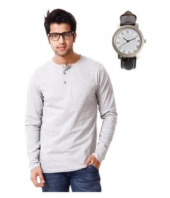 Ansh Fashion Wear MenS Henley T-shirt With Free Watch