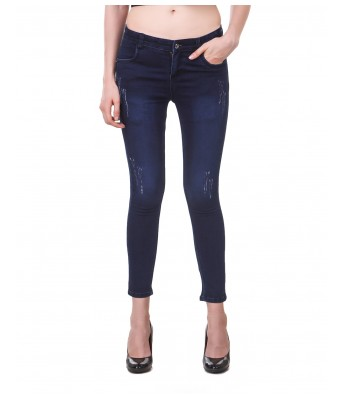 Ansh Fashion Dark Blue Color Pattern Womens Denim Jeans