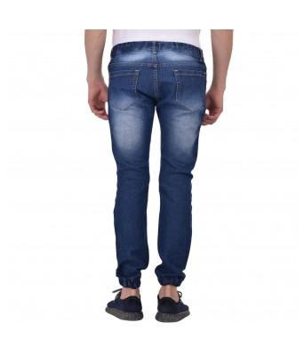 Ansh Fashion Wear Mens Regular Fit Denim Strechable Round Pocket Mild Distress Light Faded Dark Blue Jogger
