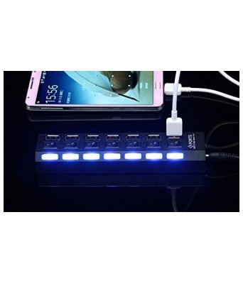 Sasta Bazar 7 Port USB Hub 2.0 with Individual Switch (Black)