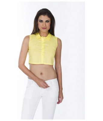 Casual Sleeveless Solid Womens Yellow Top