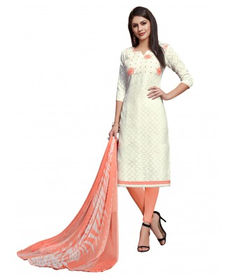White Party Cotton Jacquard Unstitched Dress Material With Dupatta