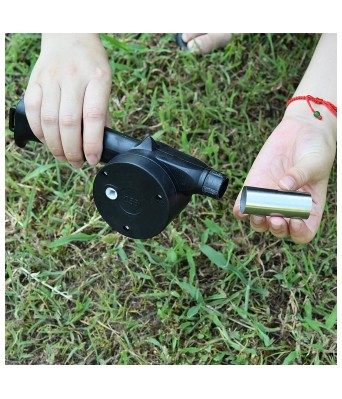 PREM ZONE Outdoor Cooking Hand Crank Powered Barbecue BBQ Fan Air Blower (Black)