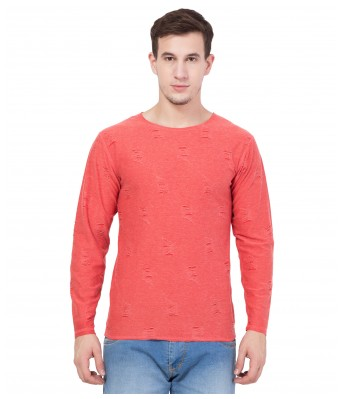 American-Elm Men's Cotton Solid Orange Full Sleeve Reverseble T-Shirt
