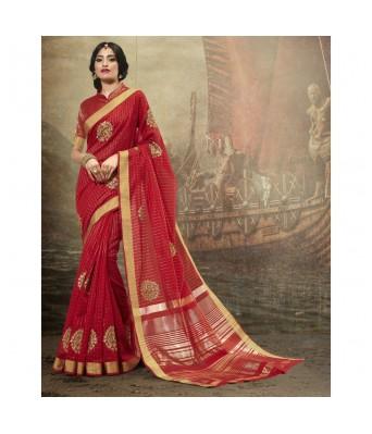 Shakunt Weaves Red Color Cotton Festival Wear Zari Saree