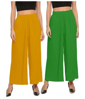 The Moon Parote Green and Musterd Yellow Stlyist Woman Palazzo 2 Piece Combo
