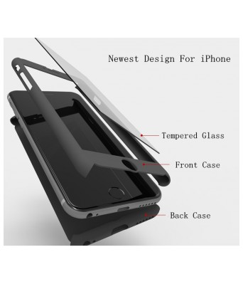 IPAKY 360 3 in 1 Cover Case with tempered for APPLE iPhone 6 6s