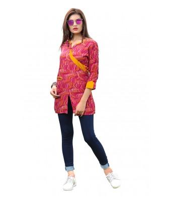 Pink Printed Rayon Full Stitched Kurtis - RK Fashions