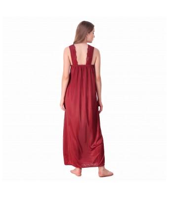 Rock Hudson Womens Maroon Color Nightwear - Plain Satin Fabric - Lace Work  - Full Length Gown