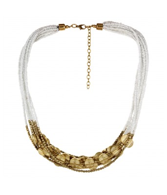 Aradhya Elegant Casual Wear White and Golden Beads necklace for Women and Girls