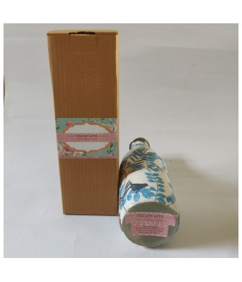 Handcrafted Decoupage English Floral Print Glass Water Bottle (1 Litre) - Blue Jay by The Gift Attic
