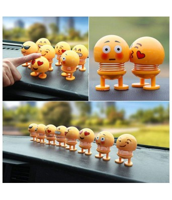 Sasta Bazar Online Exclusive Funny Creative Shaking Head Dolls Cute Emoji Spring Dolls Funny Expression Bounce Toy for Car Dashboard Ornaments/Home/Desktop Decoration/Party Favors/Kids Toys Pack of 2 Emojis