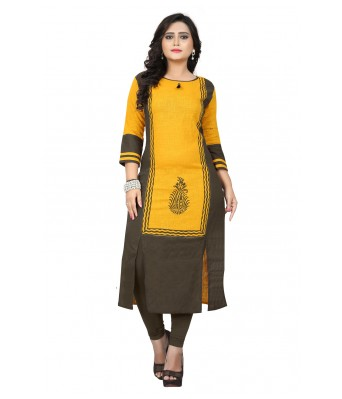 Yellow Printed Slab Cotton Full Stitched Kurtis - RK Fashions