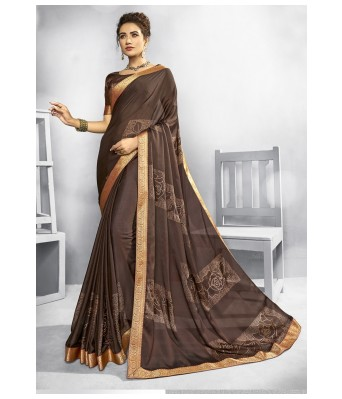 Triveni Brown Chiffon Casual Wear Printed Saree with Blouse Piece