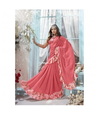 Triveni Pink Chiffon Casual Wear Solid Saree with Blouse Piece