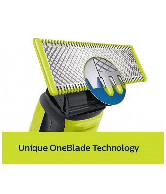 Philips QP2525/10 OneBlade Hybrid Trimmer and Shaver with 3 Trimming Combs (Lime Green)