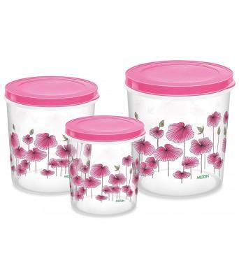 MILTON Plastic Storage Jar Set - 7 Liters, 10 Liters, 5 Liters, 3 Pieces, Pink