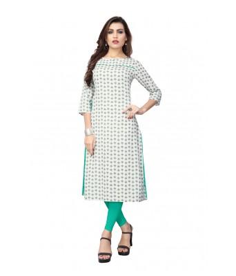 Off White Plain & Embroidered Flex Cotton Full Stitched Kurtis - RK Fashions