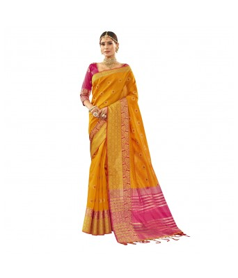 Shakunt Yellow Art Silk Festival Wear Woven Saree
