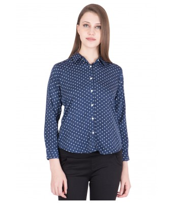 iroo Lifestyle Blue White Polka Dot Womens Shirt/TOP