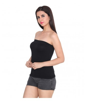 Ansh Fashion Wear Black Color Cotton Spaghetti Tube Top