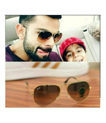 virat kohli style brown shade gold frame 3026 sunglasses for men