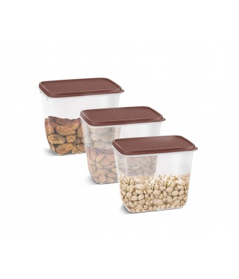 Milton Flat Max 850 Storage Containers, Set of 3, Brown