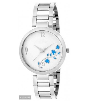 White Flower Dial Stainless Steel Strap Women Watch