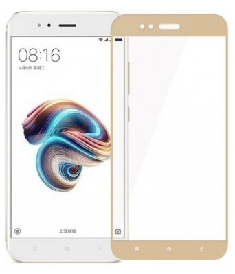 Full Coverage Edge to Edge 3D Tempered Glass Screen Protector For Mi A1 (Gold)