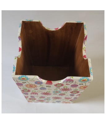Handcrafted Decoupage English Floral Print Wooden Bin - Crazy flowers by The Gift Attic