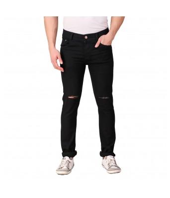 Rock Hudson Mens Regular Fit Denim Strechable Round Pocket Knee Slit Clean Look Black Jeans