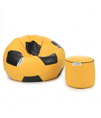 Excellent Buy Olayaan Football Bean Bag Cover Only Black Yellow Inzonedesignstudio Interior Chair Design Inzonedesignstudiocom